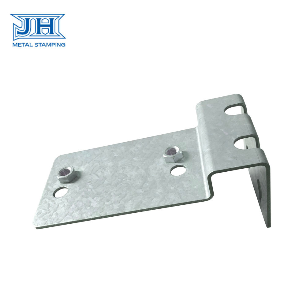 Galvanized Sheet Metal Custom Stamping Parts Elevator Bracket with Nut